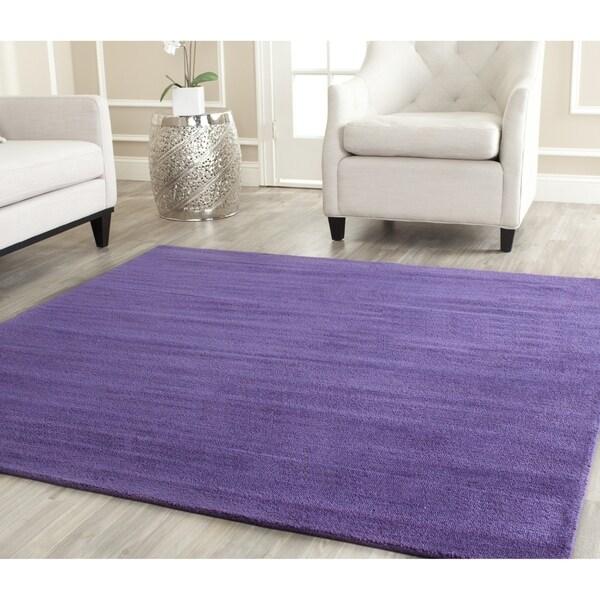 Safavieh Handmade Himalaya Solid Purple Wool Rug (4' Square)