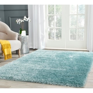 Safavieh Charlotte Shag Light Blue Plush Polyester Rug (5'1 x 7'6)
