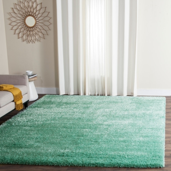 Shop Safavieh Charlotte Shag Teal Plush Polyester Area Rug