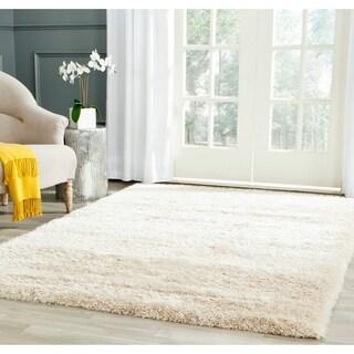 Safavieh Charlotte Shag Ivory Plush Polyester Rug (5'1 x 7'6)