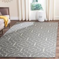 Safavieh Handmade Flatweave Dhurries Grey/ Ivory Wool Rug - 10' x 14'