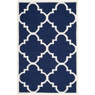 Safavieh Handmade Flatweave Dhurries Navy/ Ivory Wool Rug (10' x 14')