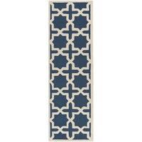 Safavieh Handmade Cambridge Navy Blue/ Ivory Wool Rug - 2'6 x 16'