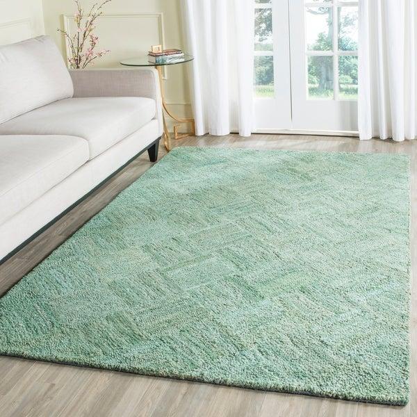 Safavieh Handmade Nantucket Abstract Green/ Multi Cotton Rug - 9' x 12'