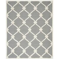 Safavieh Handmade Cambridge Dark Grey/ Ivory Wool Rug (11' x 15')