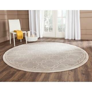 Safavieh Indoor/ Outdoor Amherst Light Grey/ Ivory Rug - 9' Round