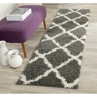 Safavieh Dallas Shag Dark Grey/ Ivory Trellis Rug - 2'3 x 8'