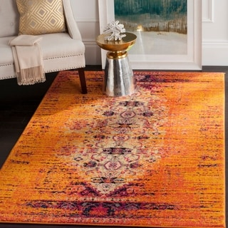 Safavieh Monaco Modern Abstract Orange/ Multi Rug (5'1 x 7'7)