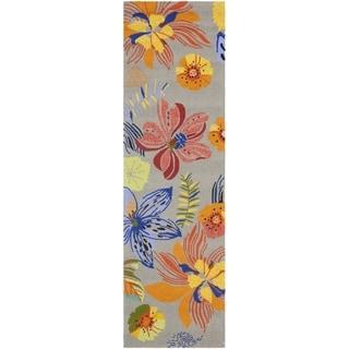 Safavieh Indoor/ Outdoor Four Seasons Grey/ Orange Rug (2' x 6')
