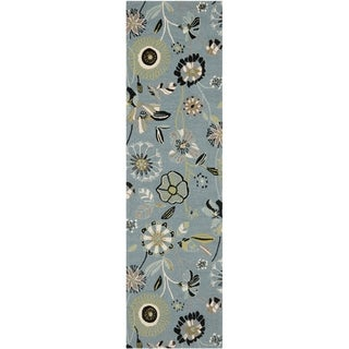 Safavieh Hand-Hooked Four Seasons Floral Blue/ Multicolored Polyester Rug (2' x 6')
