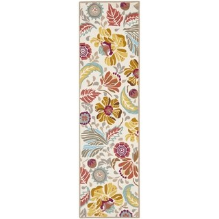 Safavieh Hand-Hooked Four Seasons Floral Ivory / Grey Polyester Runner (2' x 6')