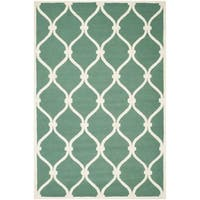 Safavieh Handmade Cambridge Teal/ Ivory Wool Rug - 10' x 14'