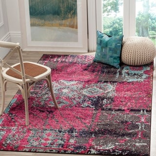 Safavieh Monaco Modern Abstract Pink/ Multicolored Distressed Rug (5'1 x 7'7)