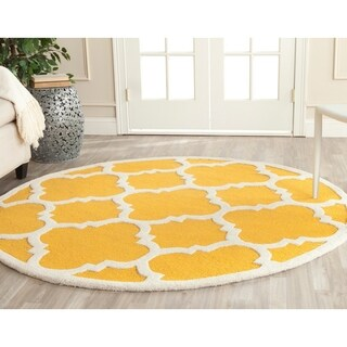 Safavieh Handmade Cambridge Gold/ Ivory Wool Rug - 4' Round