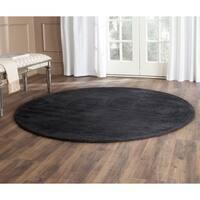 Safavieh Handmade Himalaya Solid Black Wool Rug - 4' Round
