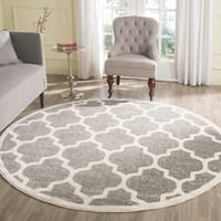 Safavieh Indoor/ Outdoor Amherst Dark Grey/ Beige Rug - 9' Round