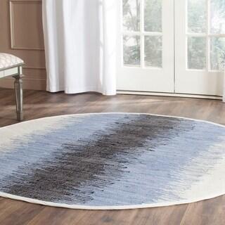 Safavieh Hand-woven Montauk Grey/ Black Cotton Rug (4' Round)