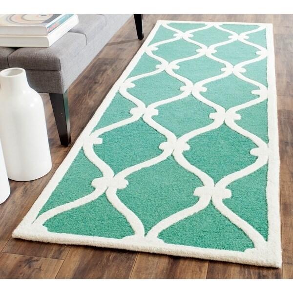 Shop Safavieh Handmade Cambridge Teal/ Ivory Wool Rug