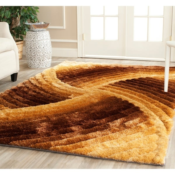 Safavieh Handmade 3D Shag Mink Colored Abstract Area Rug - 9' x 12'