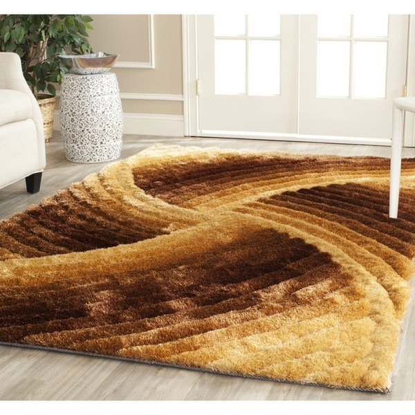 Safavieh Handmade 3D Shag Mink Colored Abstract Area Rug (9' x 12')