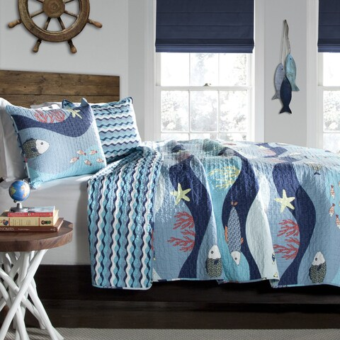 Lush Decor Sealife 3-Piece Cotton Quilt Set