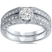 14k White Gold Vintage 1 1/10ct Pave-set White Diamond Bridal Ring Set