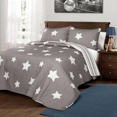Lush Decor Star Pattern 3-piece Cotton Quilt Set
