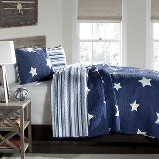 Lush Decor Star Pattern 3-piece Cotton Quilt Set