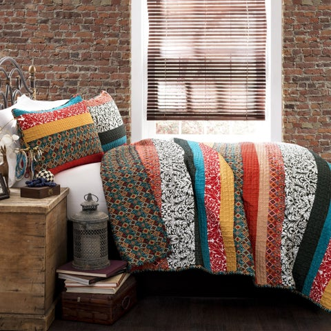 The Curated Nomad La Boheme Striped 3-piece Quilt Set