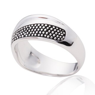 Blue Box Jewels Oxidized Dotted Double Unisex Wave Ring