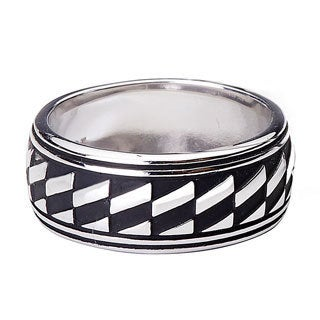 Blue Box Jewels Stainless Steel Oxidized Diagonal Checkered Unisex Ring