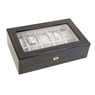 High Gloss Ebony Finish Suede Faux and Locking 10-Watch Case with Window