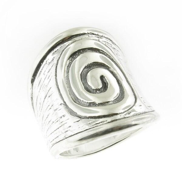 cd274a37e3382 Handmade .925 Sterling Silver Textured Electroform Spiral Ring (Thailand)