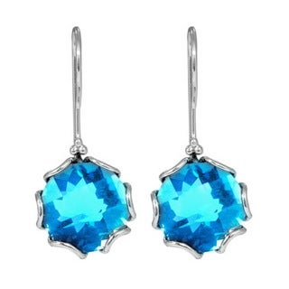 Handmade Sterling Silver Bali Faceted Blue Topaz Gemstone Dangle Earrings (Indonesia)