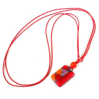 Handmade Red Zig-Zag Small Fused Glass Pendant Necklace (Chile)