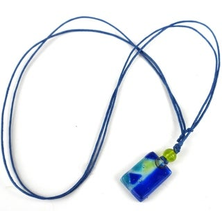 Blue Zig-Zag Small Fused Glass Pendant Necklace (Chile)