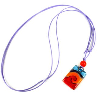 Handmade Magma Small Fused Glass Pendant Necklace (Chile)