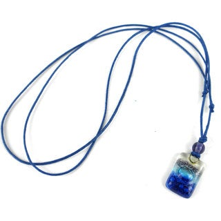 Sand and Sea Small Fused Glass Pendant Necklace (Chile)