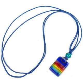 Handmade Deep Blue Rainbow Small Fused Glass Pendant Necklace (Chile)