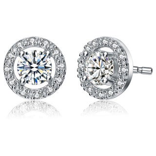 Collette Z Sterling Silver Cubic Zirconia Round Stud Style Earrings