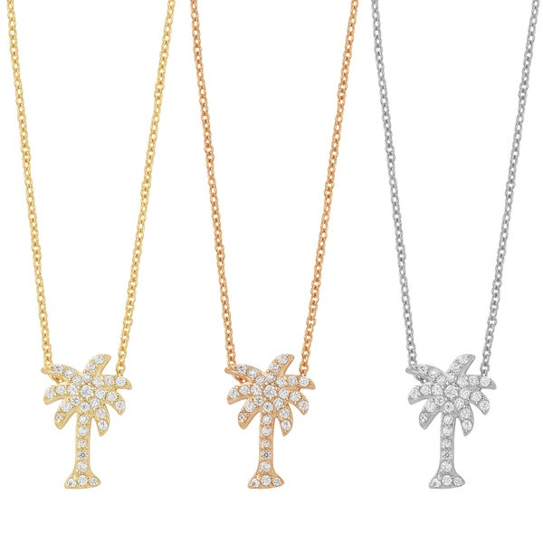 Fremada Gold Over Sterling Silver and Cubic Zirconia Palm Tree Necklace