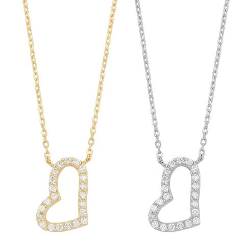 Fremada Gold Over Sterling Silver and Cubic Zirconia Heart Necklace