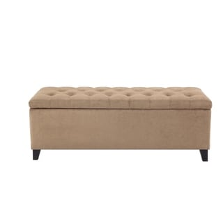 Madison Park Shandra Sand Tufted Top Storage Bench
