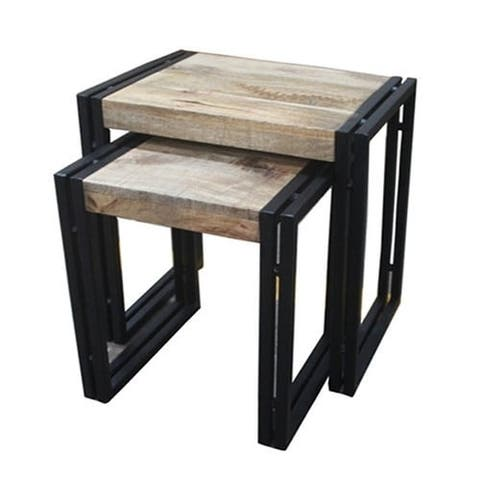 "Timbergirl Reclaimed Wood and Iron 2-piece Nesting Table Set (India) - Largest table: 20""Wx16""Lx24""H"