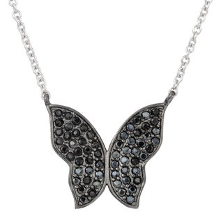 Fremada Two-tone Sterling Silver with Black Cubic Zirconia Butterfly Necklace