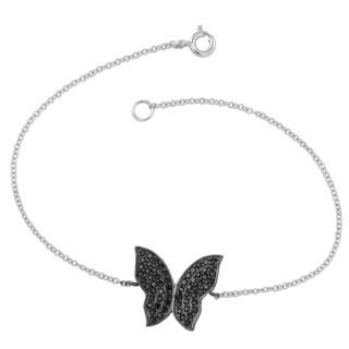 Fremada Two-tone Sterling Silver with Black Cubic Zirconia Butterfly Bracelet