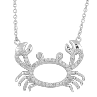 Fremada Rhodium-plated Sterling Silver with Cubic Zirconia Crab Necklace (18 inch)