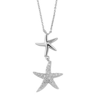 Fremada Rhodium-plated Sterling Silver with Cubic Zirconia Double Starfish Necklace (18 inch)