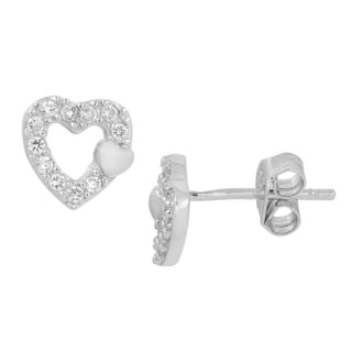 Fremada Rhodium-plated Sterling Silver with Cubic Zirconia Heart Earrings