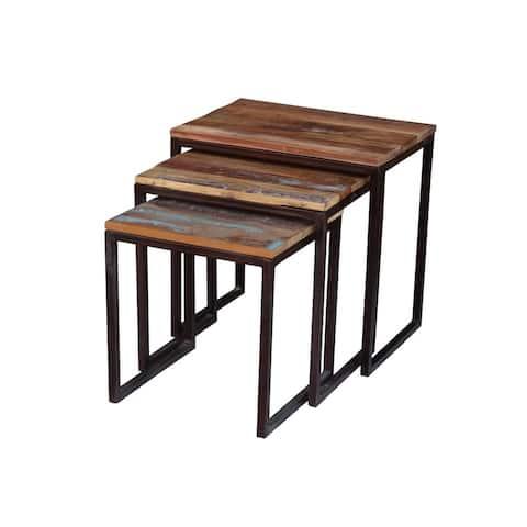 Timbergirl Iron/ Reclaimed Wood 3-piece Nesting Table Set (India)
